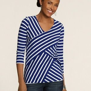 Chico's Blue White Striped Spliced Tiered Top